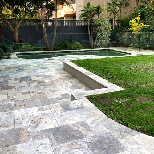 Nordic Silver Travertine paving outdoor exterior pool